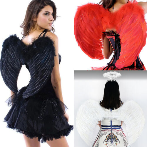 Large Angel Wings Fancy Dress Cosplay Costume White/Black/Pink/Red