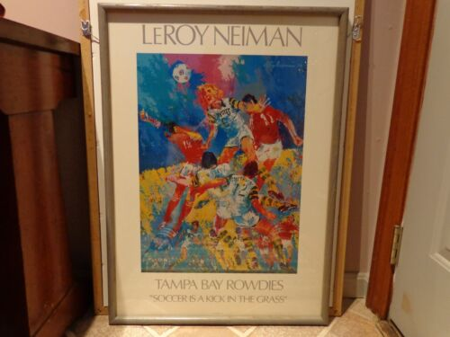 """leroy neiman TAMPA BAY ROWDIES """"SOCCER IS A KICK IN THE GRASS"""" FRMED UNDER GLASS"""
