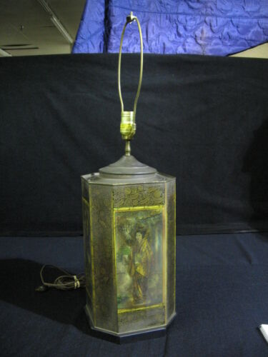 1970's Painted Toleware Asian Inspired Tea Tin Lamp by Chapman