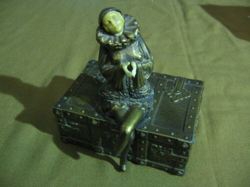 Art Deco Vienna Bronze Style Box / Seated Pierrot Figure Early 20th Century