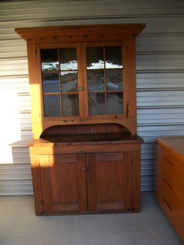 EARLY 2 PC. POPLAR 12 PANE STEP BACK CABINET, SQUARE NAILS & PEGS, BIG N CHUNKY