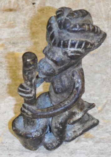 """Vintage Brass African Art Piece 3 1/4"""" Tall *FREE SHIP col1"""