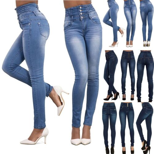 Women High Waist Skinny Tight Long Jeans Pencil Stretch Denim Pants Trousers