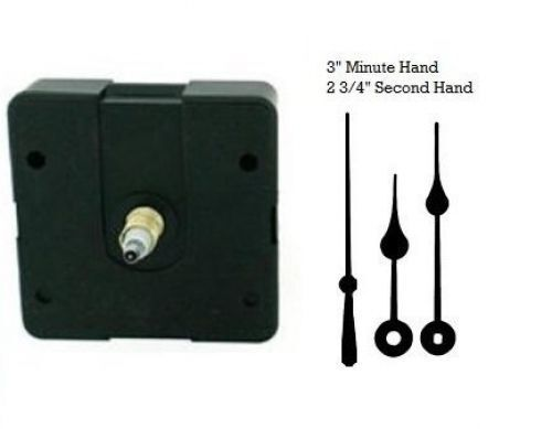 """Quartz Clock Movement Motor Mechanism Kit with 3"""" Hands for 3/4"""" thick dials"""