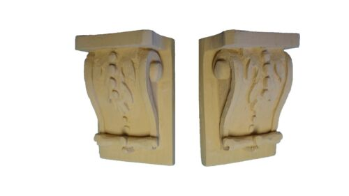 Beautiful Pair of Mini (Leaf Motif) Corbels - Resin / Pre-primed.