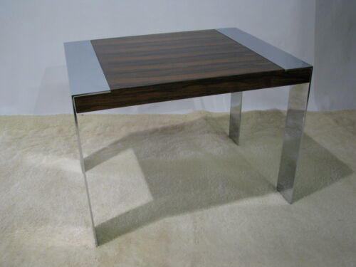 Vintage 1970s Milo Baughman Chrome & Rosewood Veneer End Table