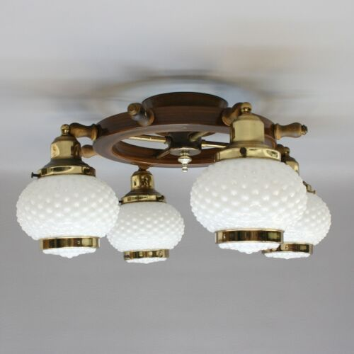 "Vtg 21"" Nautical Ships Wheel Ceiling Light Chandelier Lamp Fixture Hobnail Shade"
