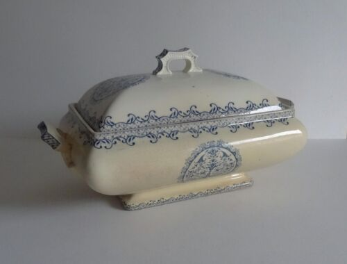 French Antique Blue/White Rectangular Transferware Tureen –  Serving Dishes