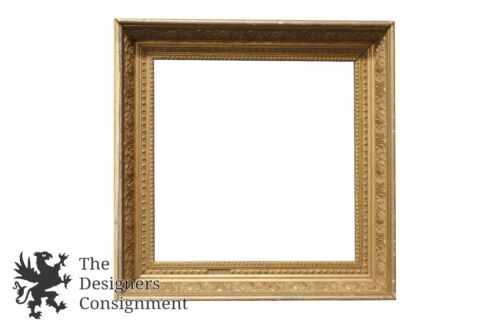 """Antique Low Relief Gilt Picture Frame 20"""" Square Art Floral Ornate"""