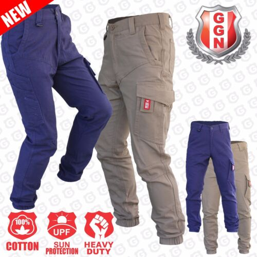 Cargo Pants Work Trousers BigBEE Elastic Band Ankle Cuff Cotton Tapered UPF 50+