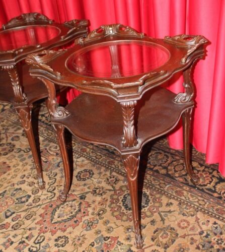 Antique French Rococo Mahogany PAIR  Side  End Tables