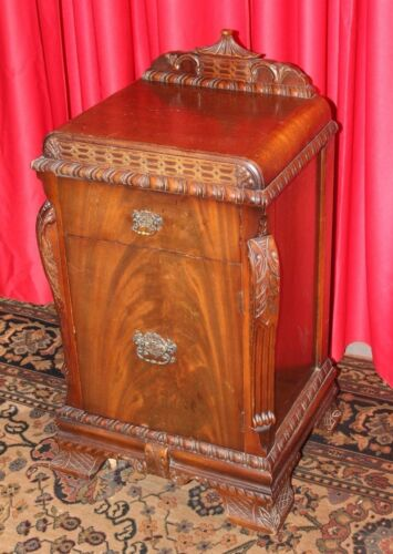 Antique Oriental Cabinet stand side table Teak / Carved Details