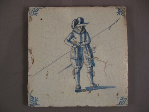 Antique Dutch Delft Tile soldier musketeer rare Tile 17th -free shipping