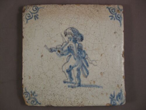 Antique Dutch Delft Tile rare soldier musketeer Tile 17th -free shipping