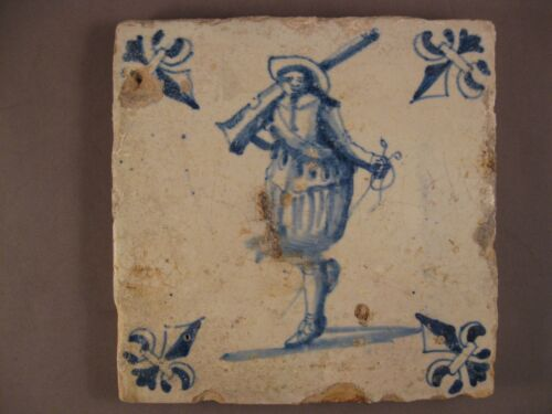 Antique Dutch Delft Tile very rare soldier tile 17th - free shipping