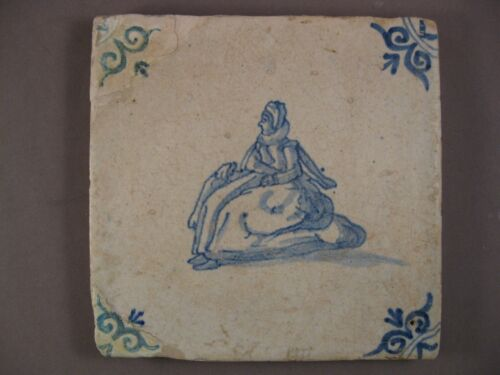 Antique Dutch Delft Tile very rare Woman with dress 17th - free shipping