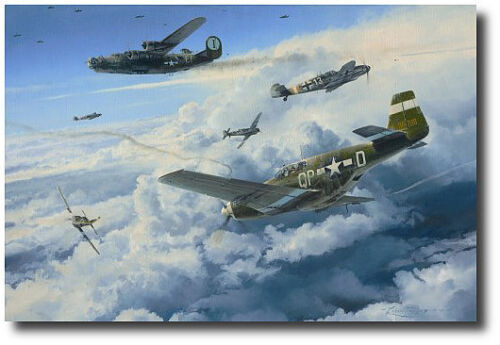 Where the Eagles Gathered by Robert Taylor - P-51 - Bf-109 - B-24 - 2 Signatures