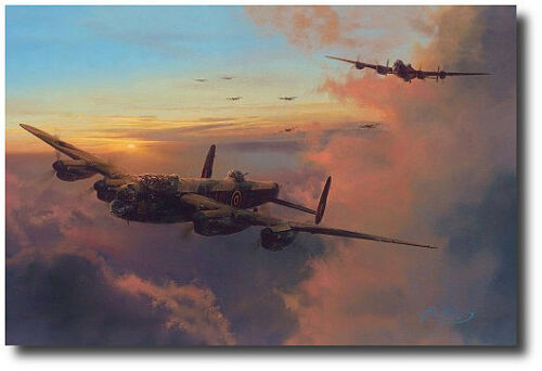 Towards Night's Darkness by Robert Taylor - Lancaster Bomber - 5 Signatures