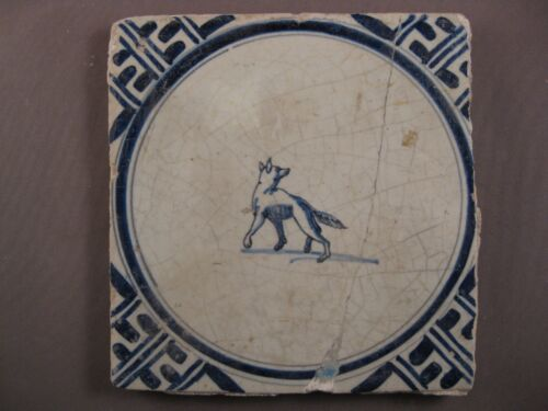 Antique Dutch Delft Tile dog 17th - free shipping