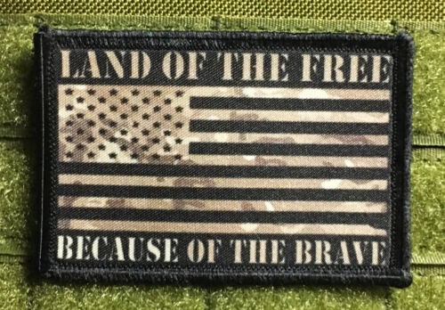 Multicam American Because of the Brave FLAG MORALE Patch Tactical ARMY MilitaryArmy - 48824