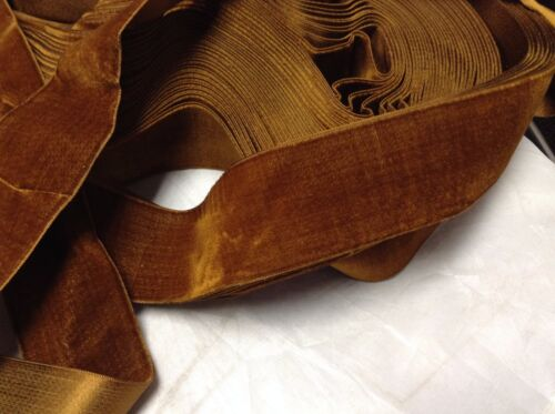 "5 Yard Rust HANK FRENCH 1 3/4"" Vintage Silk Rayon Satin Back Velvet Ribbon"