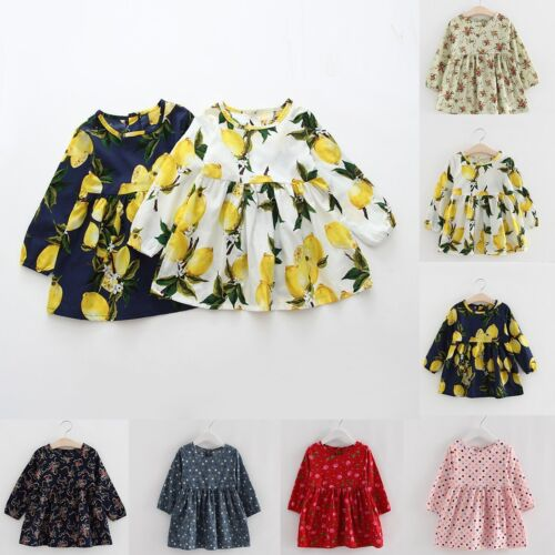 Toddler Baby Girls Long Sleeve Girls Princess Party Cotton Dress Kids Clothes