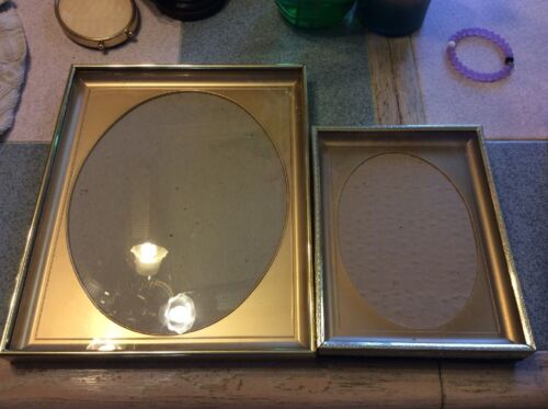 Metal Tone Picture Fram Lot Oval Aperture 8x10 And 6x8 Frames Square