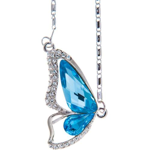 16'' Rhodium Plated Necklace w/ Butterfly Wing & Ocean Blue Crystals by Matashi