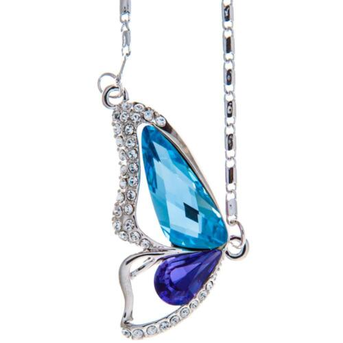 16'' Rhodium Plated Necklace w/ Butterfly Wing & Purple Blue Crystals by Matashi