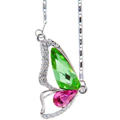 16'' Rhodium Plated Necklace w/ Butterfly Wing & Pink Green Crystals by Matashi