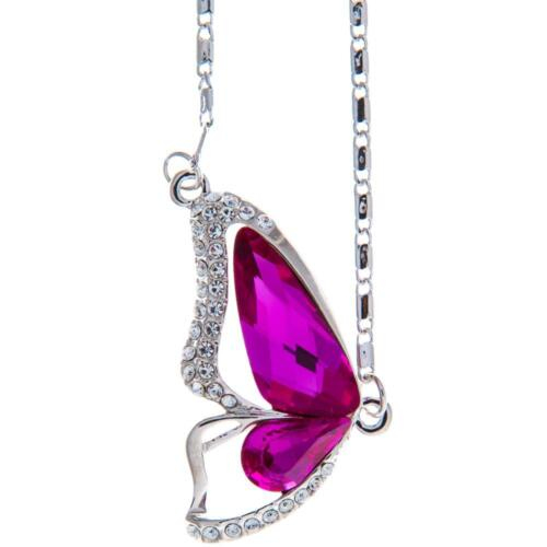 16'' Rhodium Plated Necklace w/ Butterfly Wing & Amaranth Crystals by Matashi