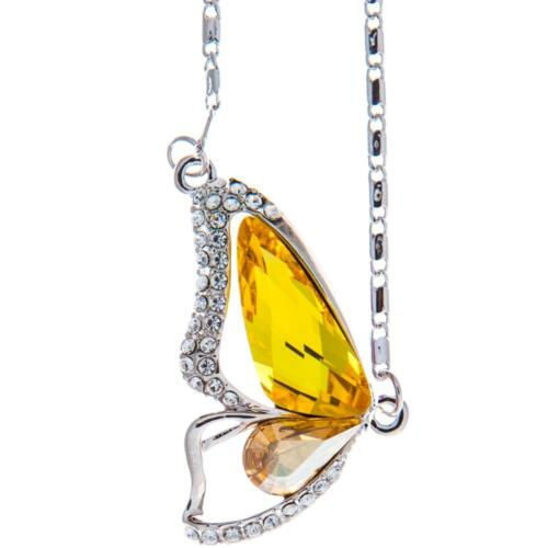 16'' Rhodium Plated Necklace w/ Butterfly Wing & Yellow Crystals by Matashi