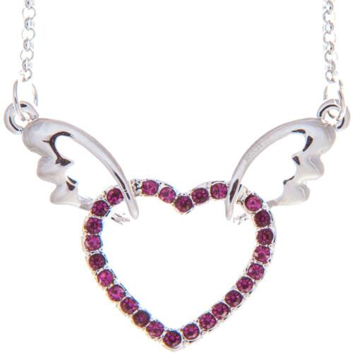 16'' Rhodium Plated Necklace w/ Winged Heart Design & Purple Crystals by Matashi