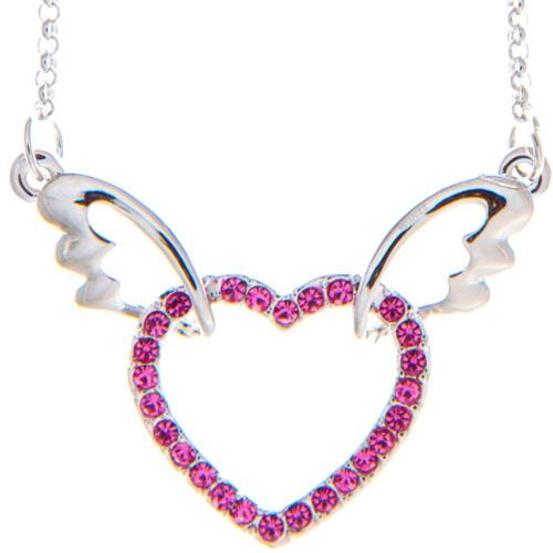 16'' Rhodium Plated Necklace w/ Winged Heart & Rose Crystals by Matashi