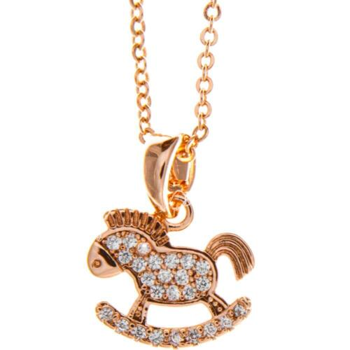 16'' Rose Gold Plated Necklace w/Rocking Horse Design & Clear Crystals by Matash