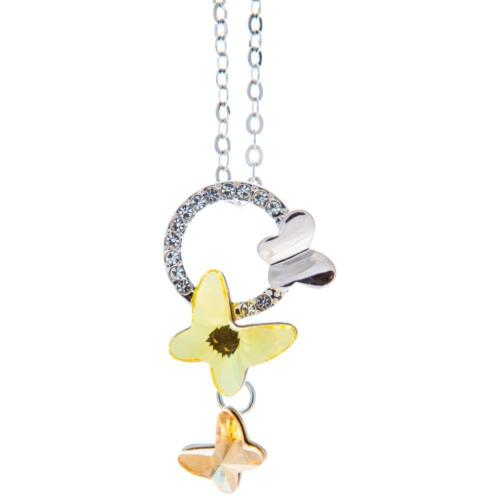 16'' Rhodium Plated Necklace w/ Yellow Butterfly & Clear Crystals by Matashi