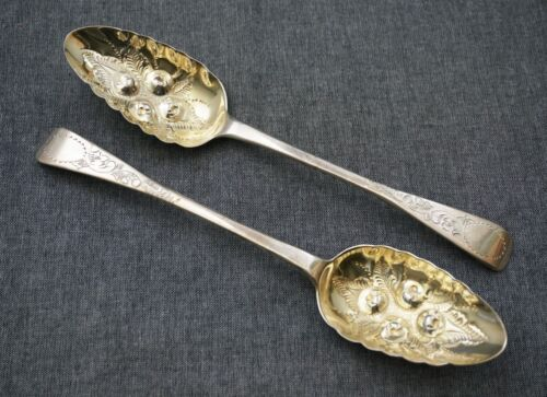 JAMES BEEBE London 1823 Sterling Gold Wash BERRY SERVING SPOONS 8 3/4 George III