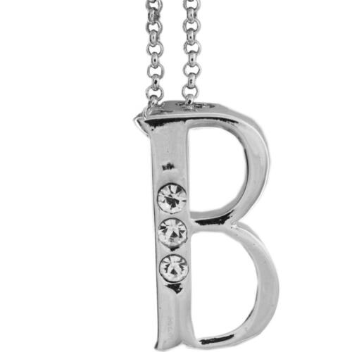 16'' Rhodium Plated Necklace w/ ''B'' Initial & Crystals by Matashi