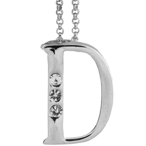 16'' Rhodium Plated Necklace w/ ''D'' Initial & Crystals by Matashi
