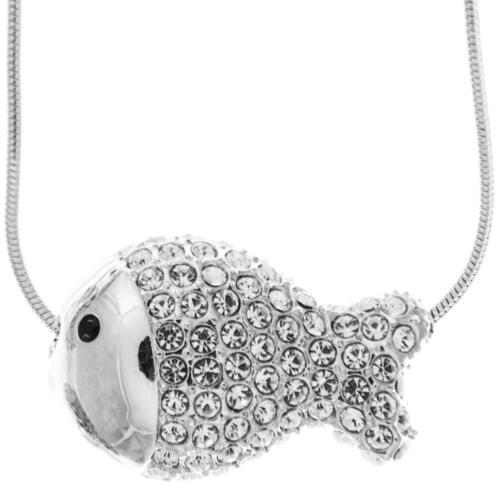 16'' Rhodium Plated Necklace w/ Fish Design & Quality Crystals by Matashi