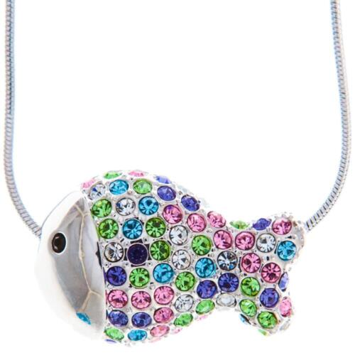 16'' Rhodium Plated Necklace w/ Fish Design & Multi-Colored Crystals by Matashi