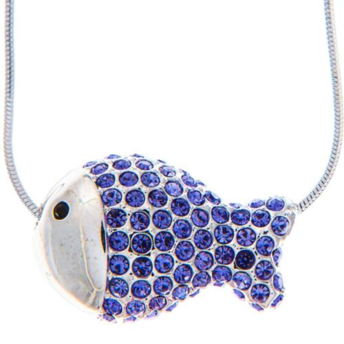16'' Rhodium Plated Necklace w/ Fish Design & Quality Purple Crystals by Matashi