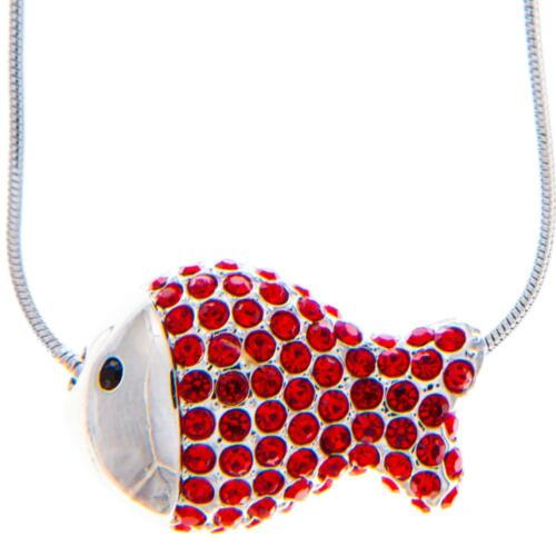 16'' Rhodium Plated Necklace w/ Fish Design & Quality Red Crystals by Matashi