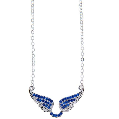 16'' Rhodium Plated Necklace w/ Outspread Angel Wings & Blue Crystals by Matashi