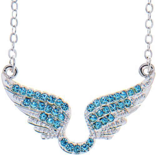 16'' Rhodium Plated Necklace w/ Angel Wings & Ocean Blue Crystals by Matashi