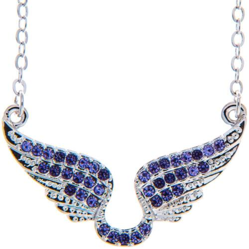 16'' Rhodium Plated Necklace w/ Angel Wings & Quality Purple Crystals by Matashi