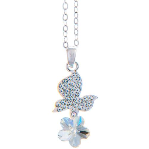 16'' Rhodium Plated Necklace w/ Butterfly Flower & Clear Crystals by Matashi