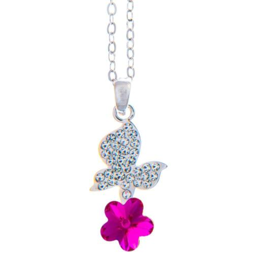 16'' Rhodium Plated Necklace w/ Butterfly Flower & Amaranth Crystals by Matashi