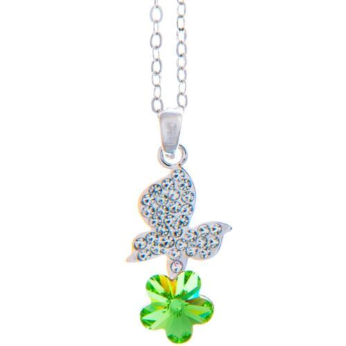 16'' Rhodium Plated Necklace w/ Butterfly Flower & Green Crystals by Matashi