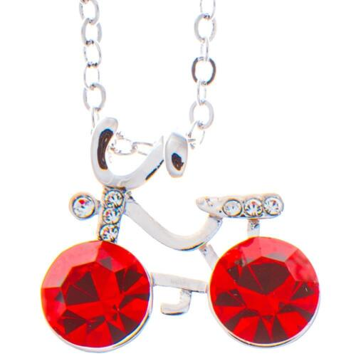 16'' Rhodium Plated Necklace w/ Bicycle & Red Crystals by Matashi